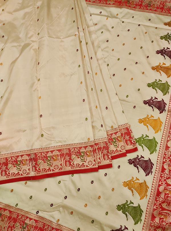 Cream katan silk Banarasi saree with Baluchari style border and anchal (3) Center