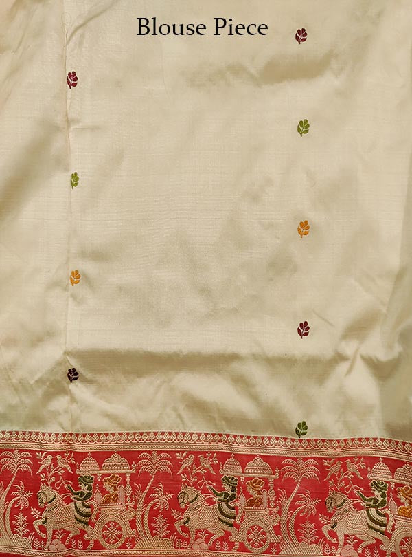 Cream katan silk Banarasi saree with Baluchari style border and anchal (5) Blouse