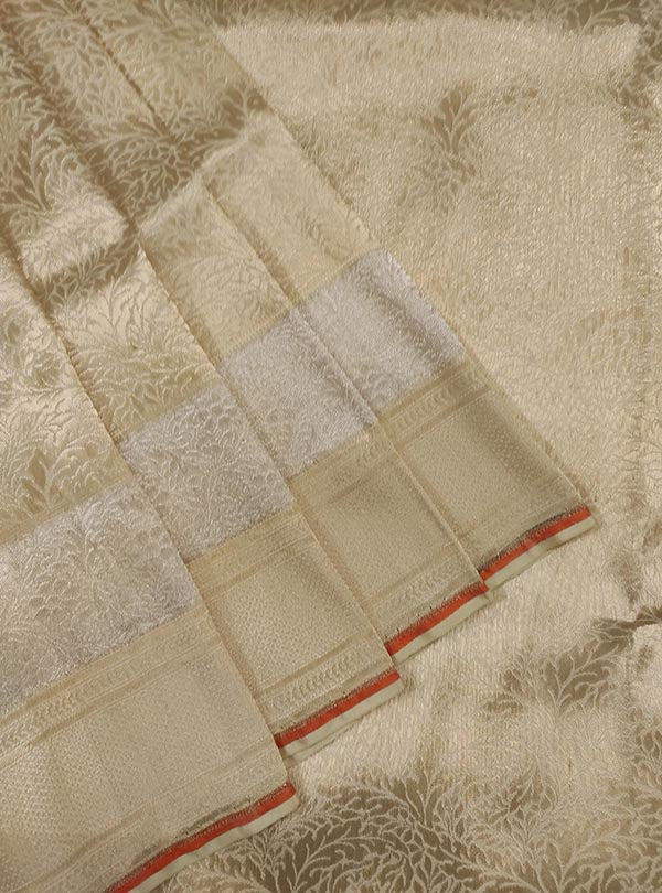 Cream katan silk handloom Banarasi saree with heavy brocade jaal (2) Close up