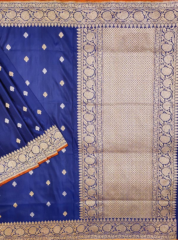 Dark Blue Katan silk handloom Banarasi saree with stylized sona rupa booti (1) MAIN