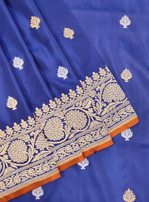 Dark Blue Katan silk handloom Banarasi saree with stylized sona rupa booti (2) CLOSEUP