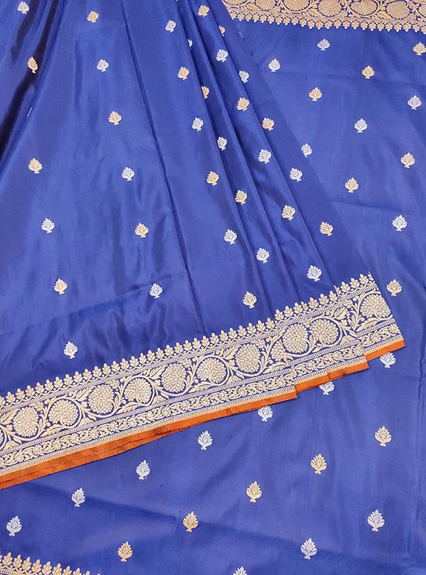Dark Blue Katan silk handloom Banarasi saree with stylized sona rupa booti (3) CENTER