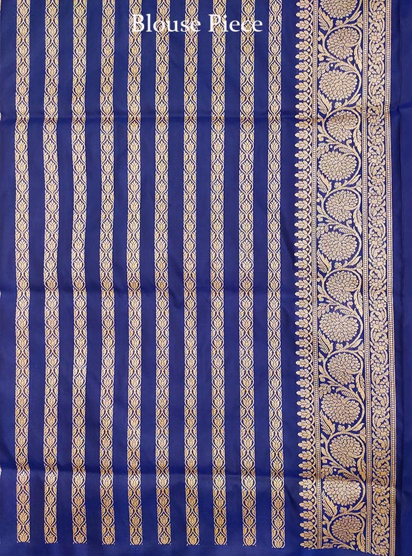 Dark Blue Katan silk handloom Banarasi saree with stylized sona rupa booti (5) BLOUSE