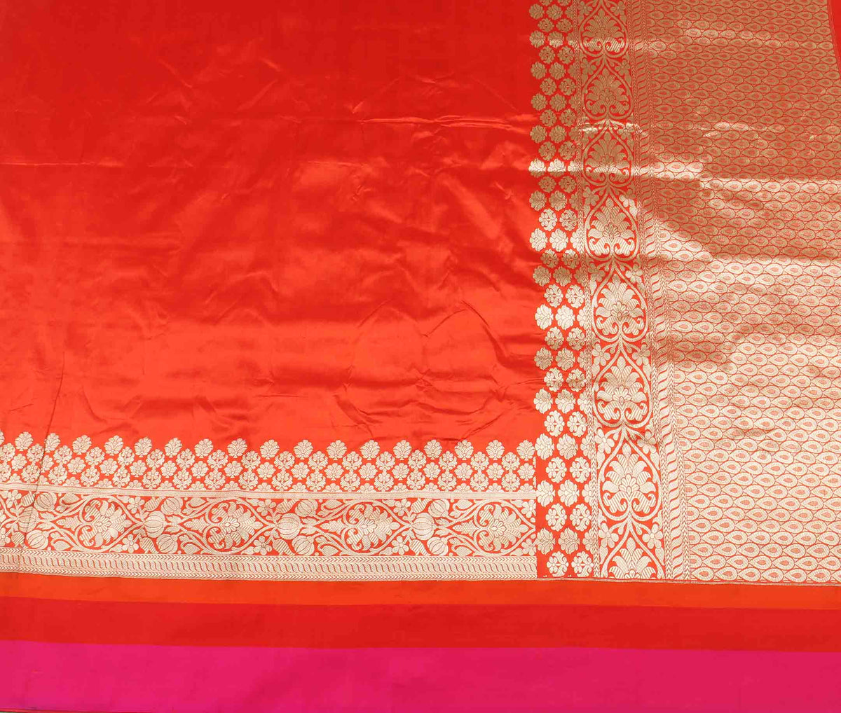 Dark Orange Katan silk handwoven plain Banarasi saree with flower border (2) flat