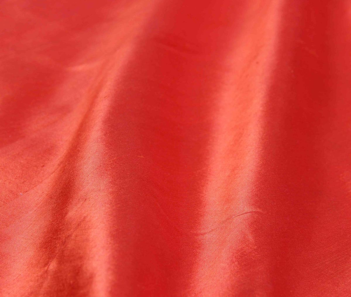 Dark Orange Katan silk handwoven plain Banarasi saree with flower border (3) closeup