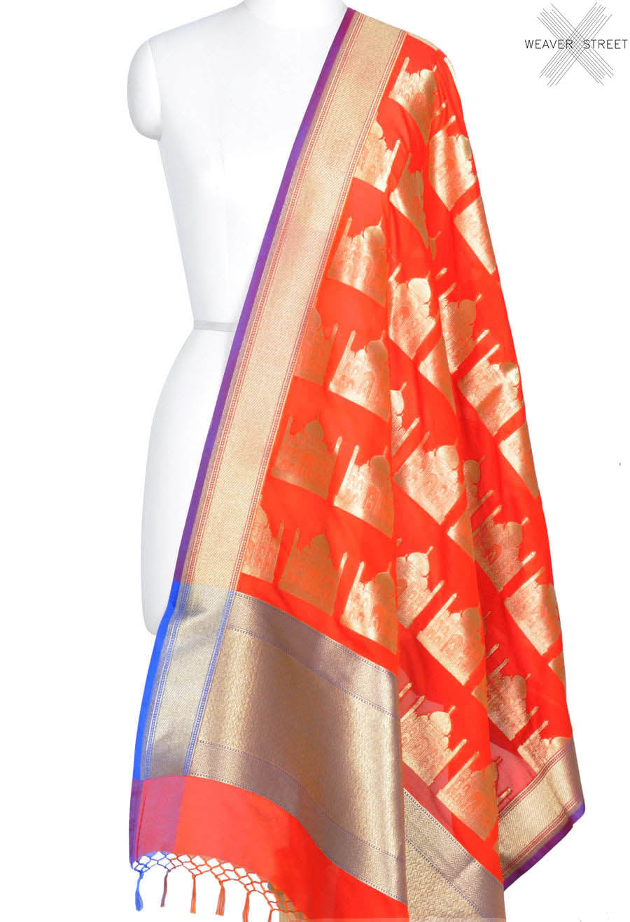 Dark orange art silk Banarasi dupatta with Taj mahal motifs (1) Main