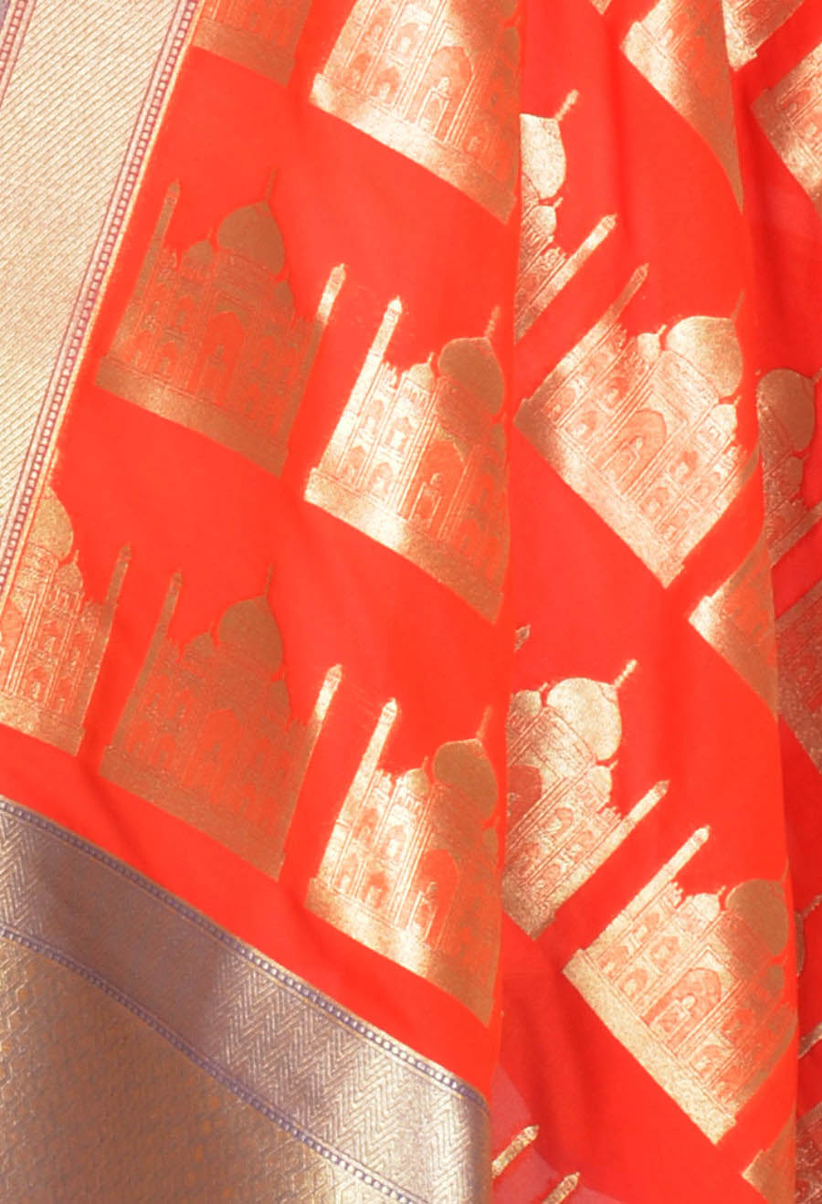 Dark orange art silk Banarasi dupatta with Taj mahal motifs (2) Close up