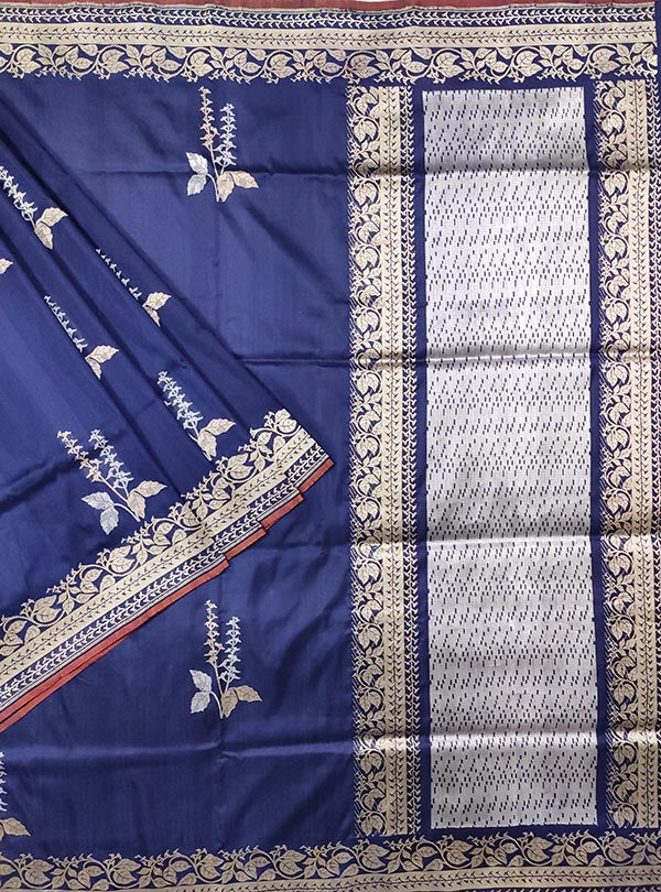 Dark blue katan silk Banarasi saree with alfi tulsi plant boota (1) MAIN