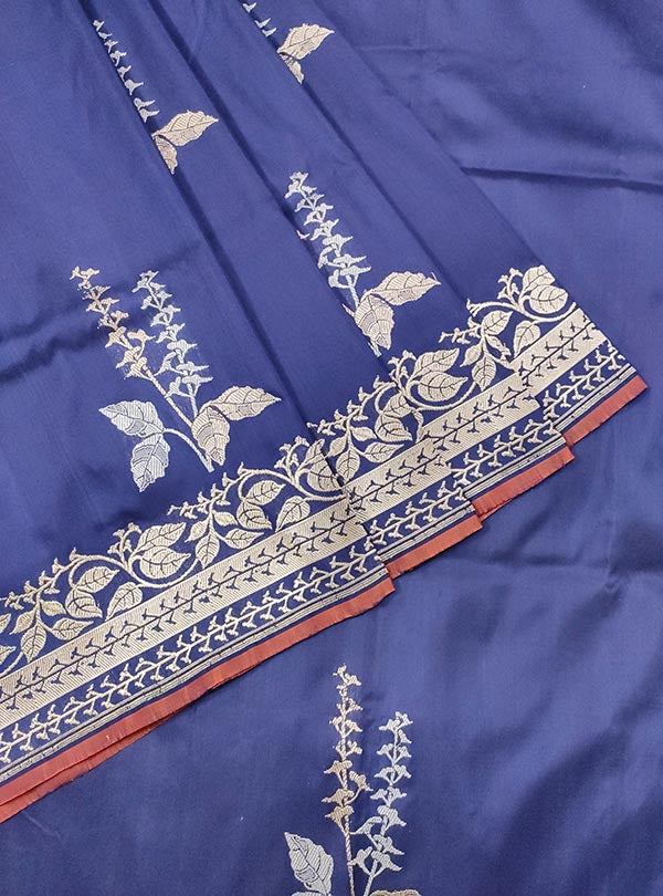 Dark blue katan silk Banarasi saree with alfi tulsi plant boota (2) CLOSEUP