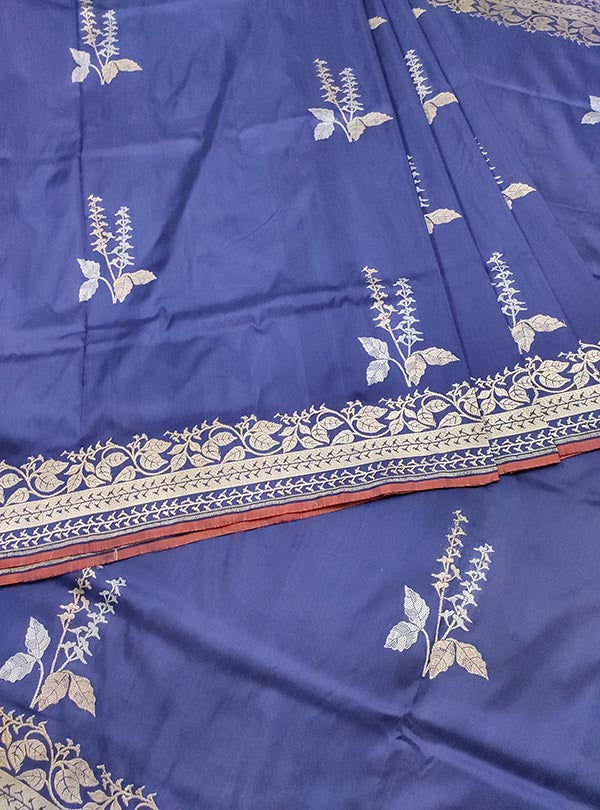 Dark blue katan silk Banarasi saree with alfi tulsi plant boota (3) CENTER