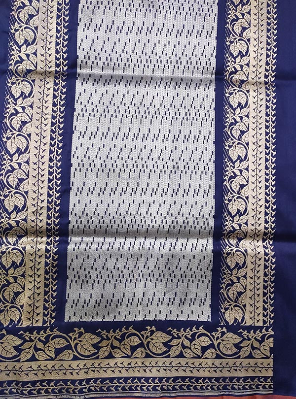 Dark blue katan silk Banarasi saree with alfi tulsi plant boota (4) ANCHAL