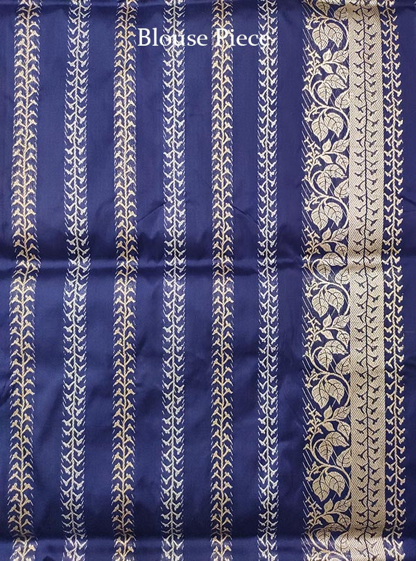 Dark blue katan silk Banarasi saree with alfi tulsi plant boota (5) BLOUSE