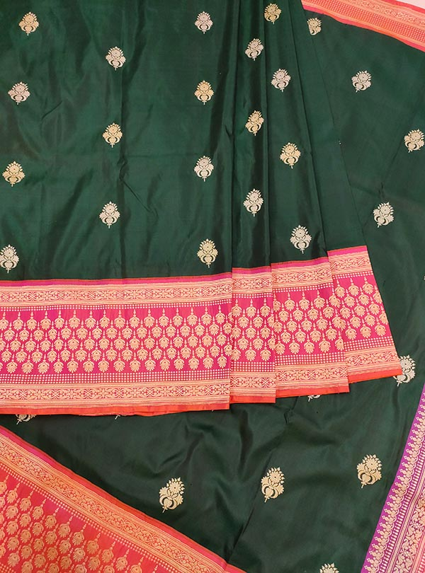 Dark green katan silk Banarasi saree with artistic sona rupa booti (3) center
