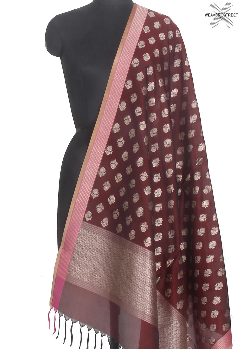 Deep Maroon summer silk Handwoven Banarasi dupatta with flower buti (1) Main