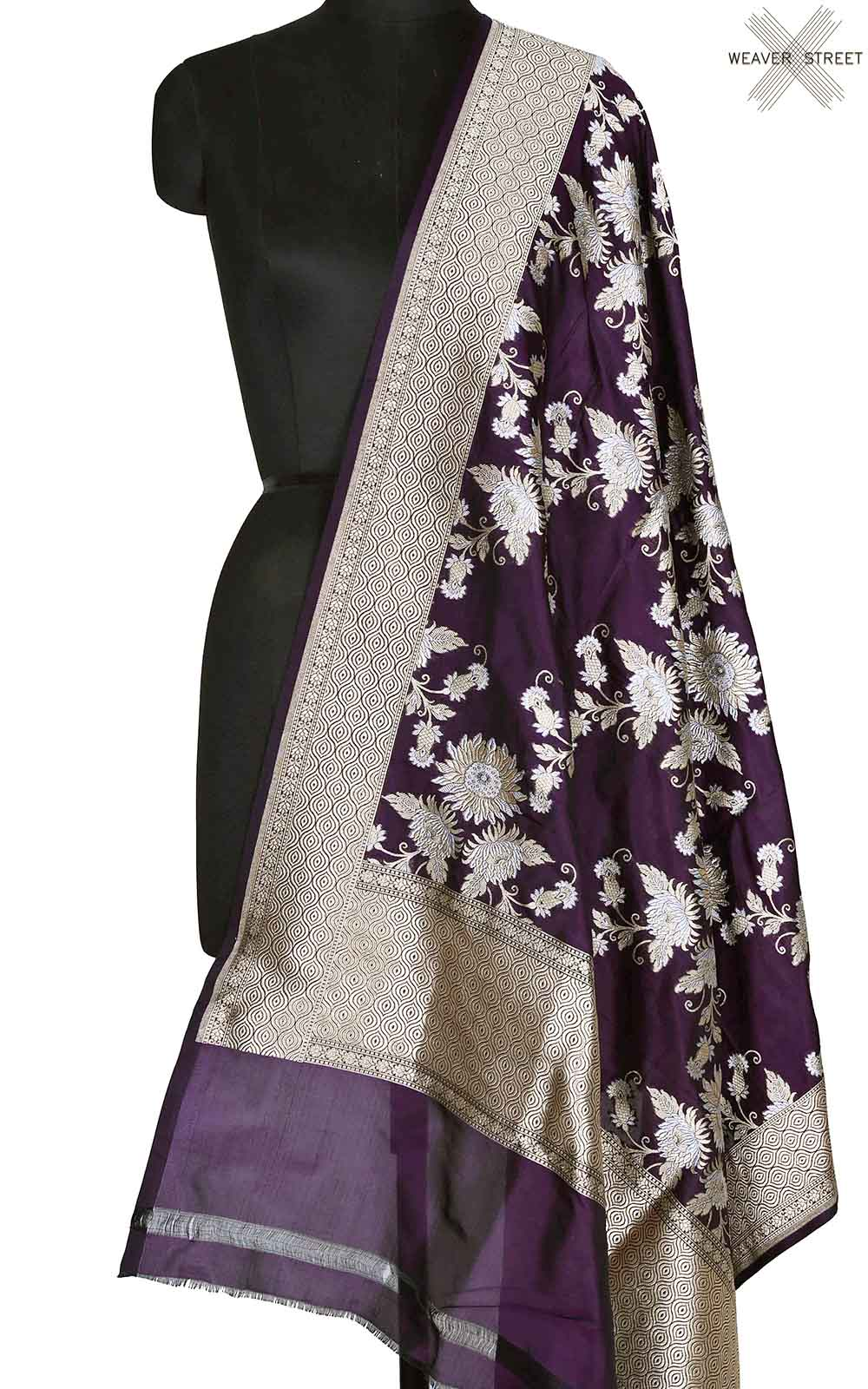 Deep Purple katan silk Banarasi dupatta with sona rupa floral boota (1) Main