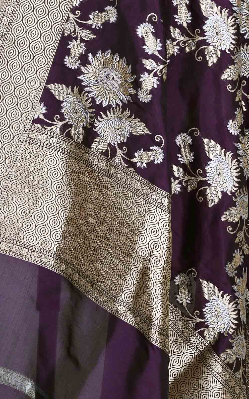 Deep Purple katan silk Banarasi dupatta with sona rupa floral boota (2) Close up