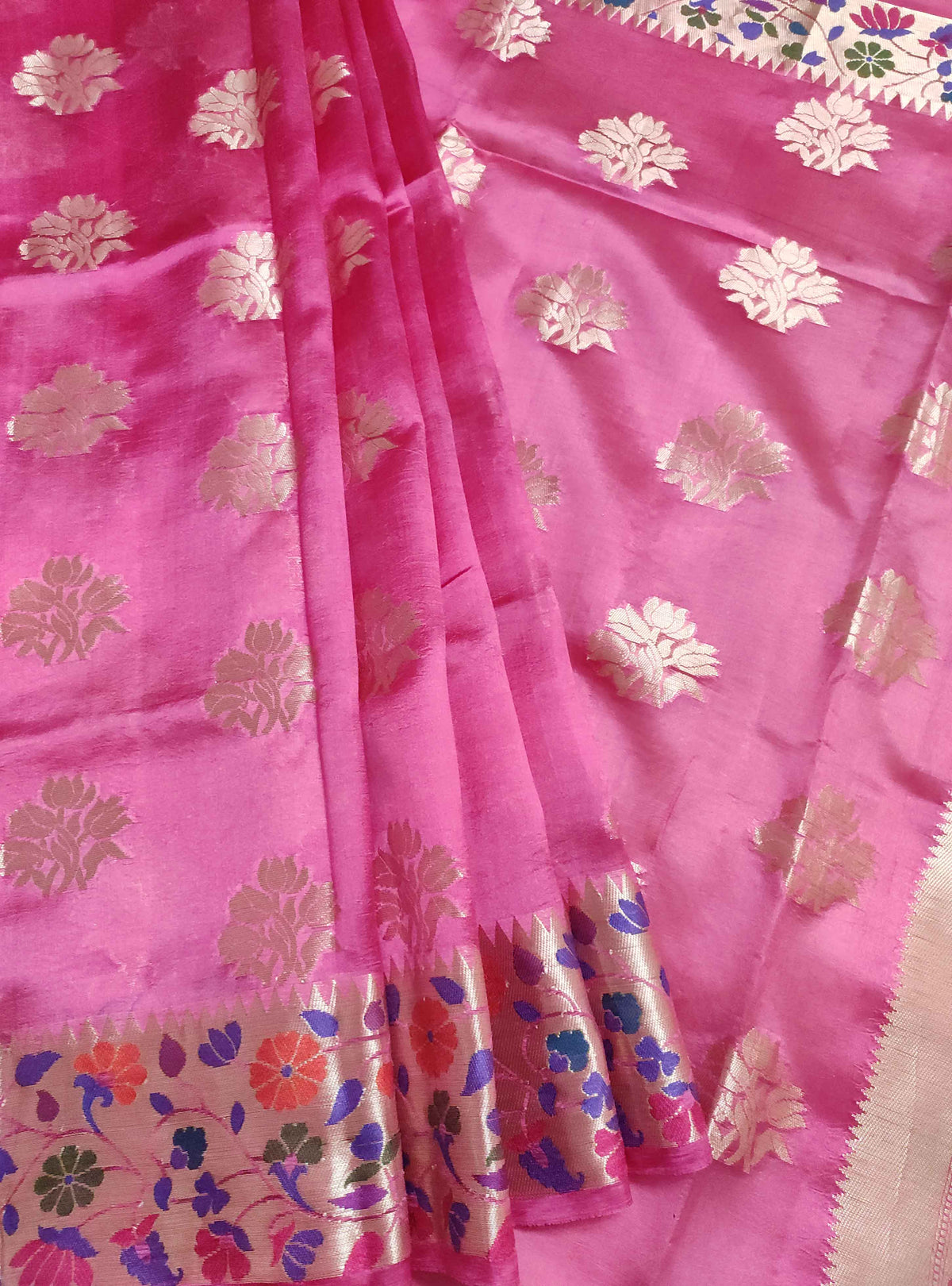 Deep pink dupion silk Banarasi saree with flower boota and meenedar border (3) Front