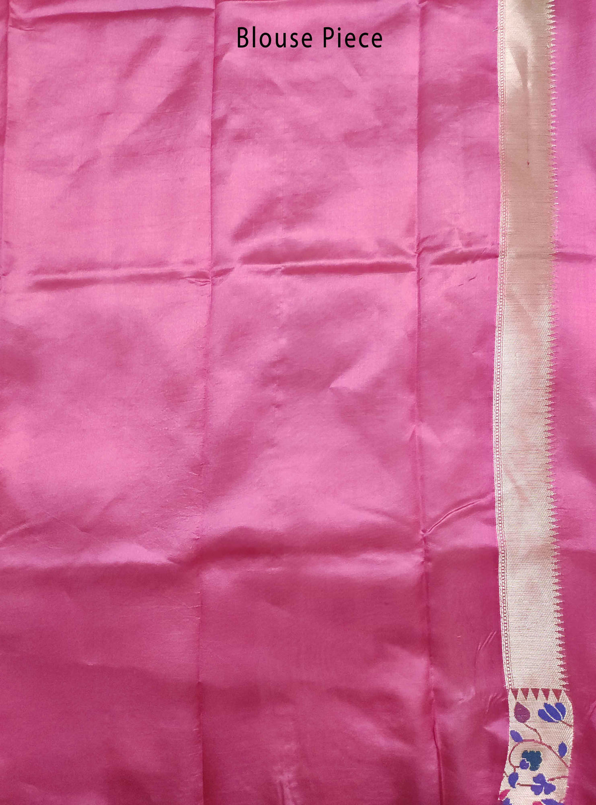 Deep pink dupion silk Banarasi saree with flower boota and meenedar border (5) Blouse Piece