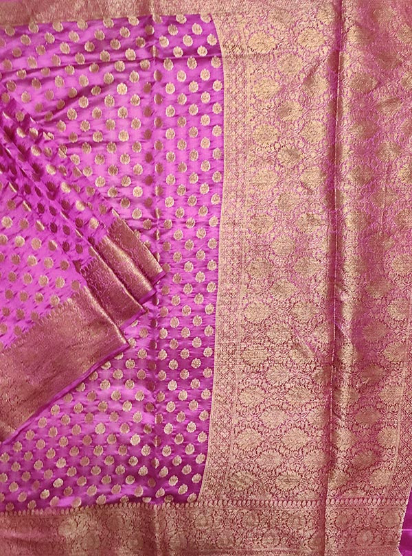 Deep magenta light weight chiniya silk Banarasi saree with mini flower booti (1) main