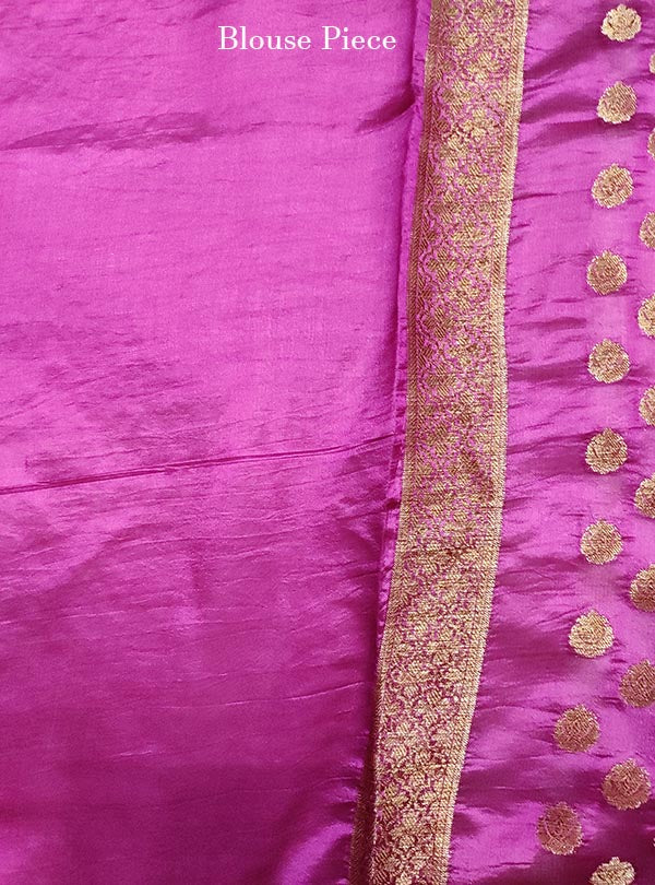 Deep magenta light weight chiniya silk Banarasi saree with mini flower booti (5) blouse