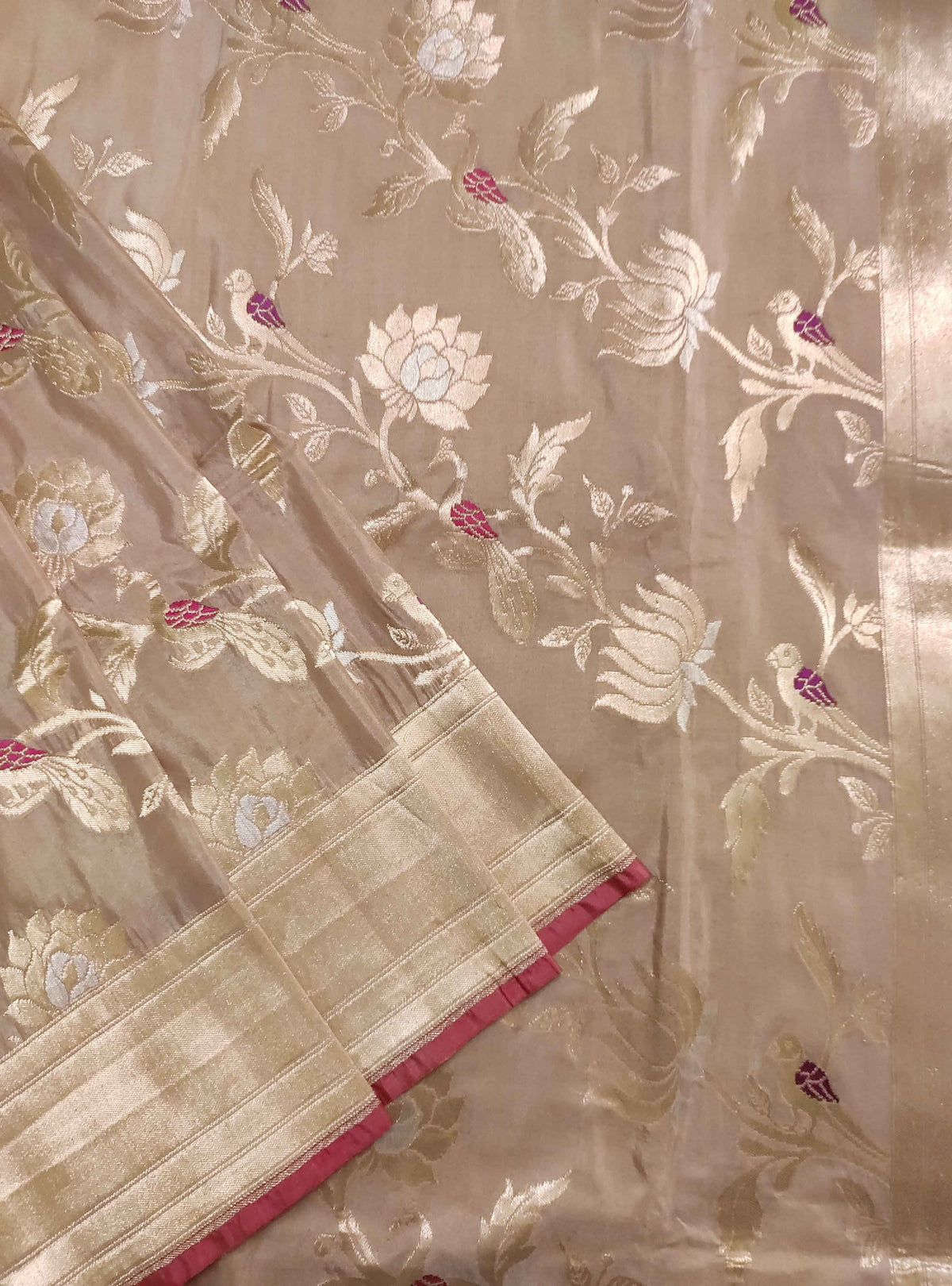 Dusky Pink Katan silk handloom Banarasi saree with tilfi peacock and flower jaal (3) Front