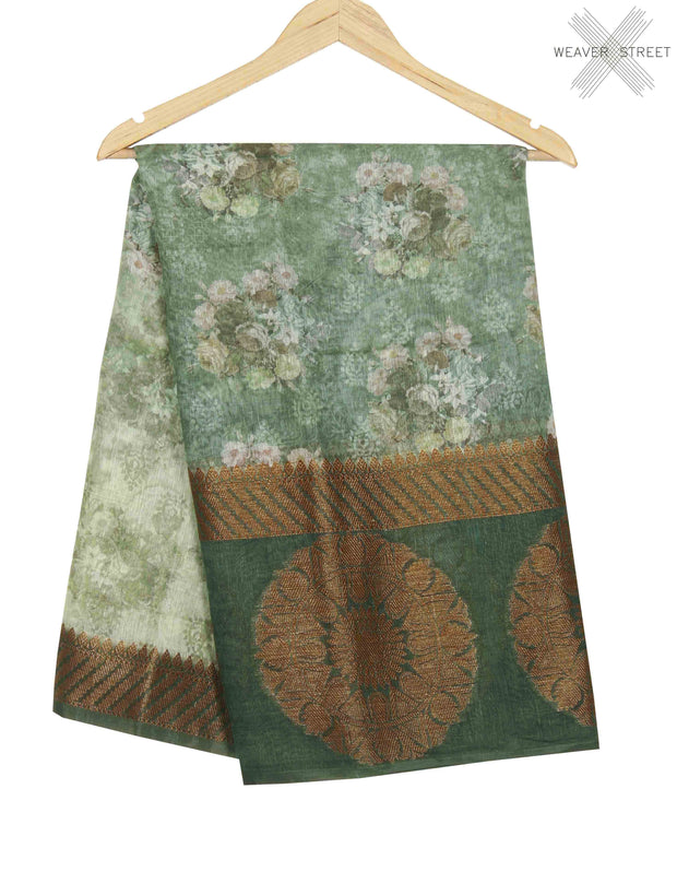 Dusky green silk linen Banarasi saree with shaded floral prints (1) main