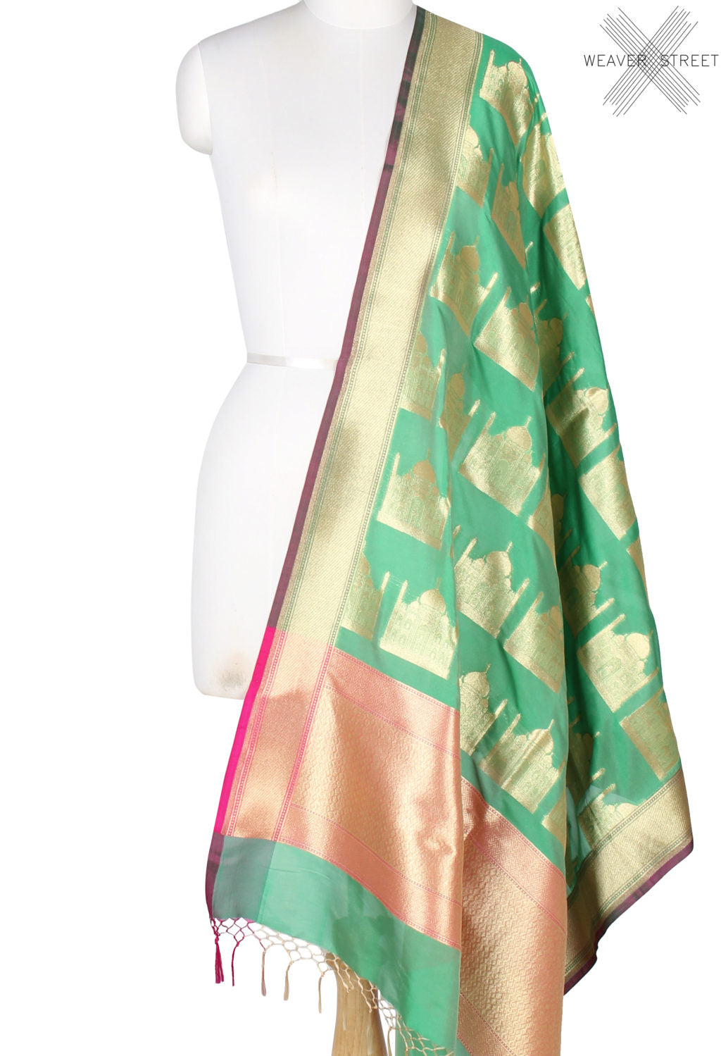 Fern Green art silk Banarasi dupatta with Taj mahal motifs (1) Main