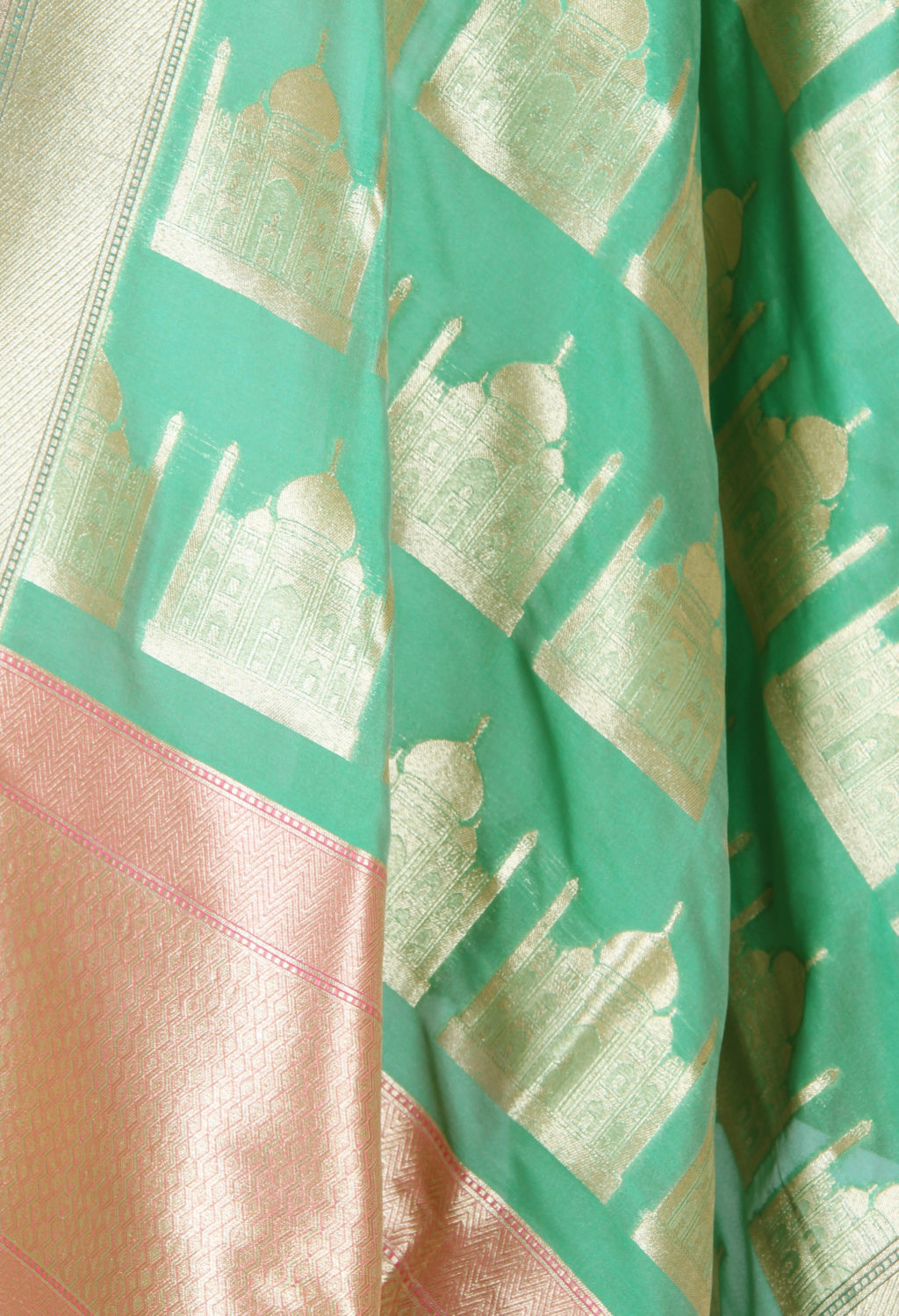 Fern Green art silk Banarasi dupatta with Taj mahal motifs (2) Close up