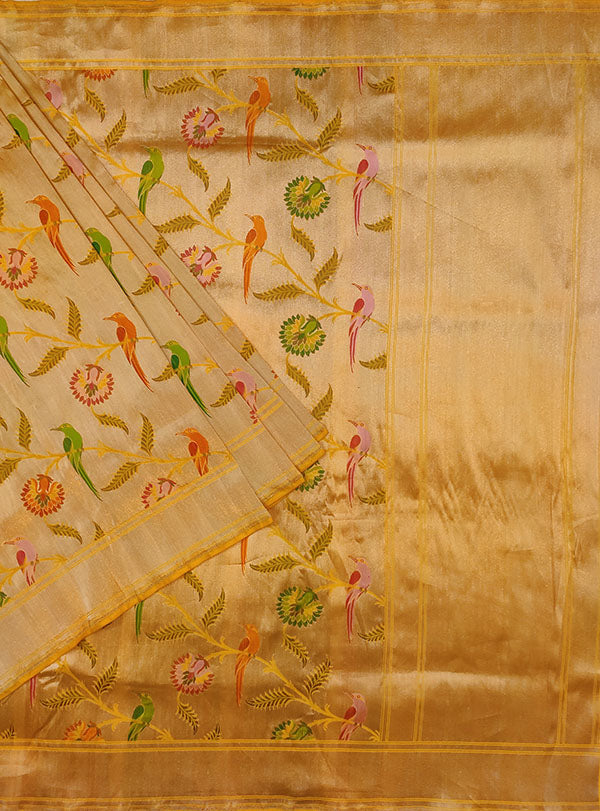 Gold Katan silk Kimkhab Banarasi saree with multicolor bird jaal (1) main