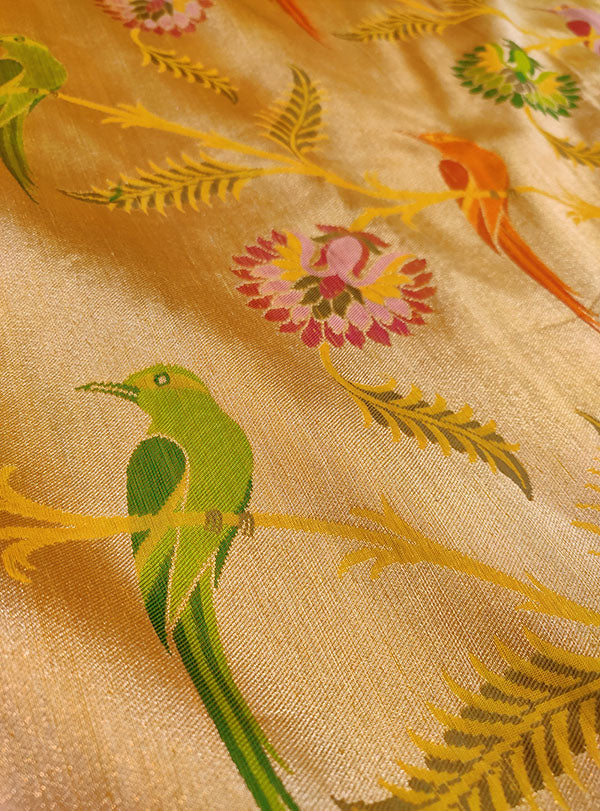 Gold Katan silk Kimkhab Banarasi saree with multicolor bird jaal (2) zoom