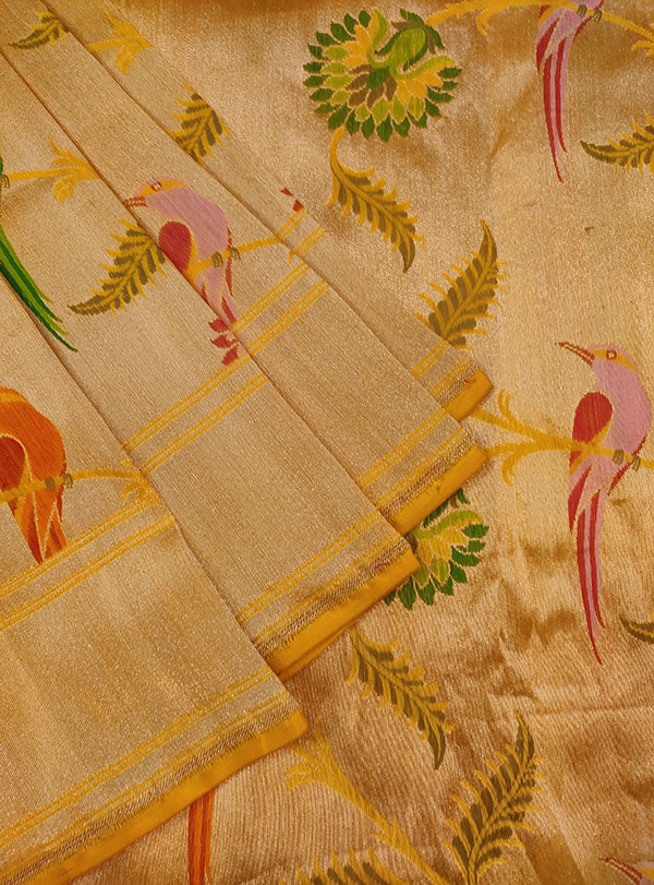 Gold Katan silk Kimkhab Banarasi saree with multicolor bird jaal (3) close up