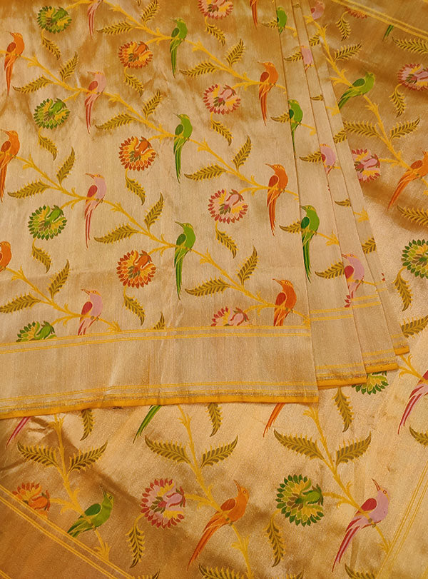 Gold Katan silk Kimkhab Banarasi saree with multicolor bird jaal (4) center