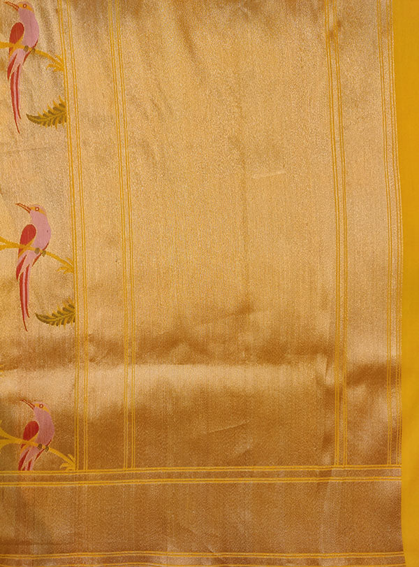 Gold Katan silk Kimkhab Banarasi saree with multicolor bird jaal (5) pallu