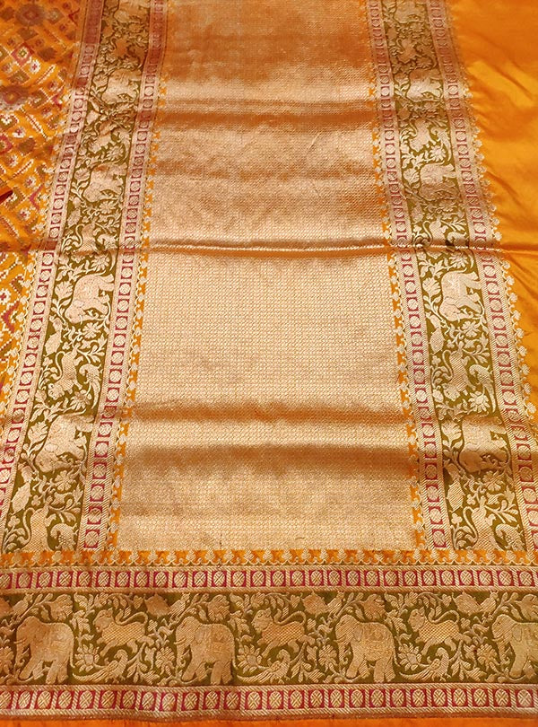 Gold Katan silk handloom Banarasi saree with patola jaal and shikarga border (4) anchal