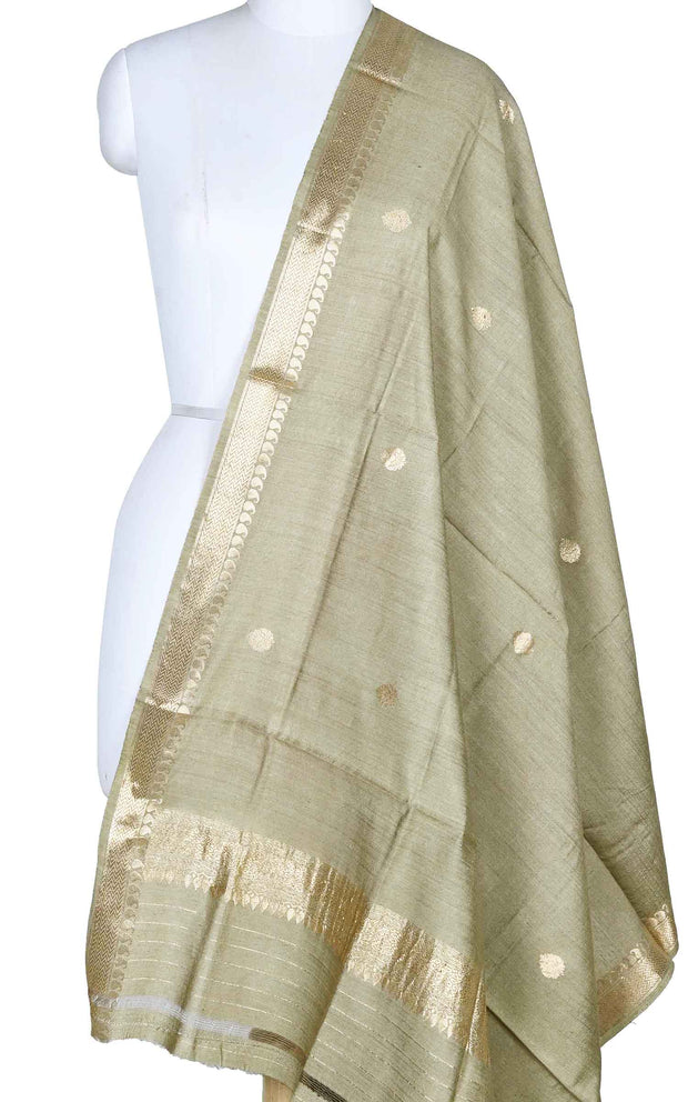 Gooseberry muga silk Banarasi dupatta with small leaf shape booti (1) Main