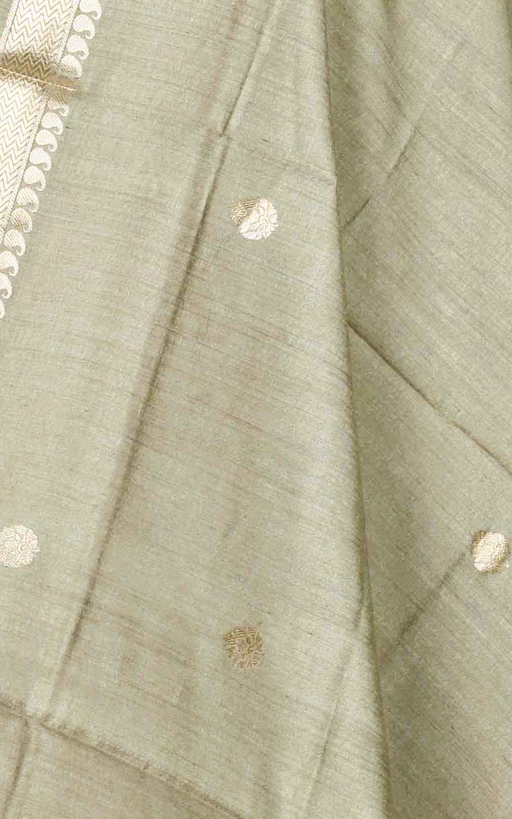 Gooseberry muga silk Banarasi dupatta with small leaf shape booti (2) Close up