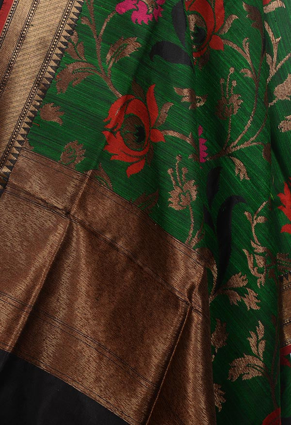 Green Dupion silk handloom Banarasi dupatta with meenedar floral jaal (2) Close up