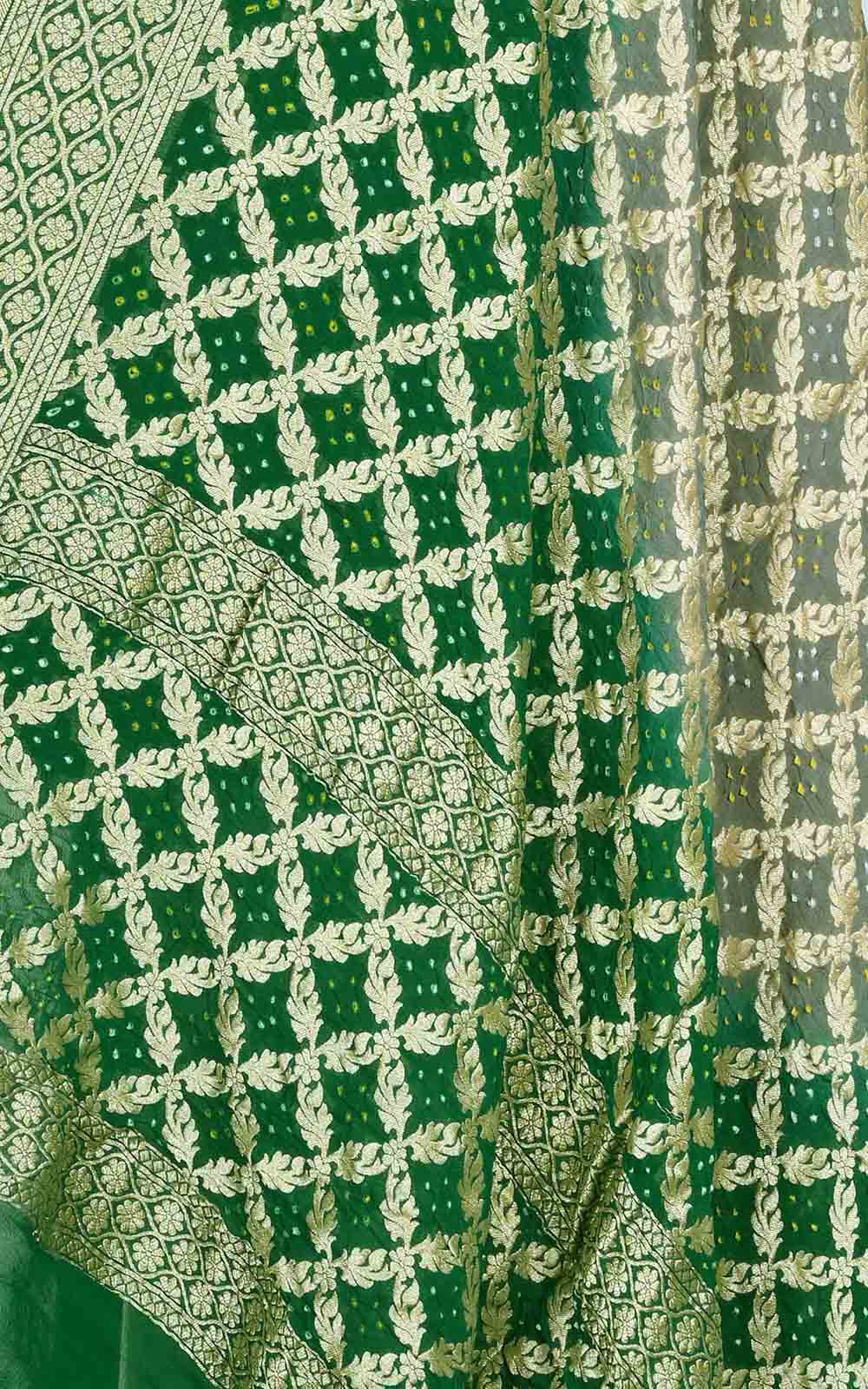 Green Grey khaddi georgette Bandhani Banarasi dupatta (2) Close up