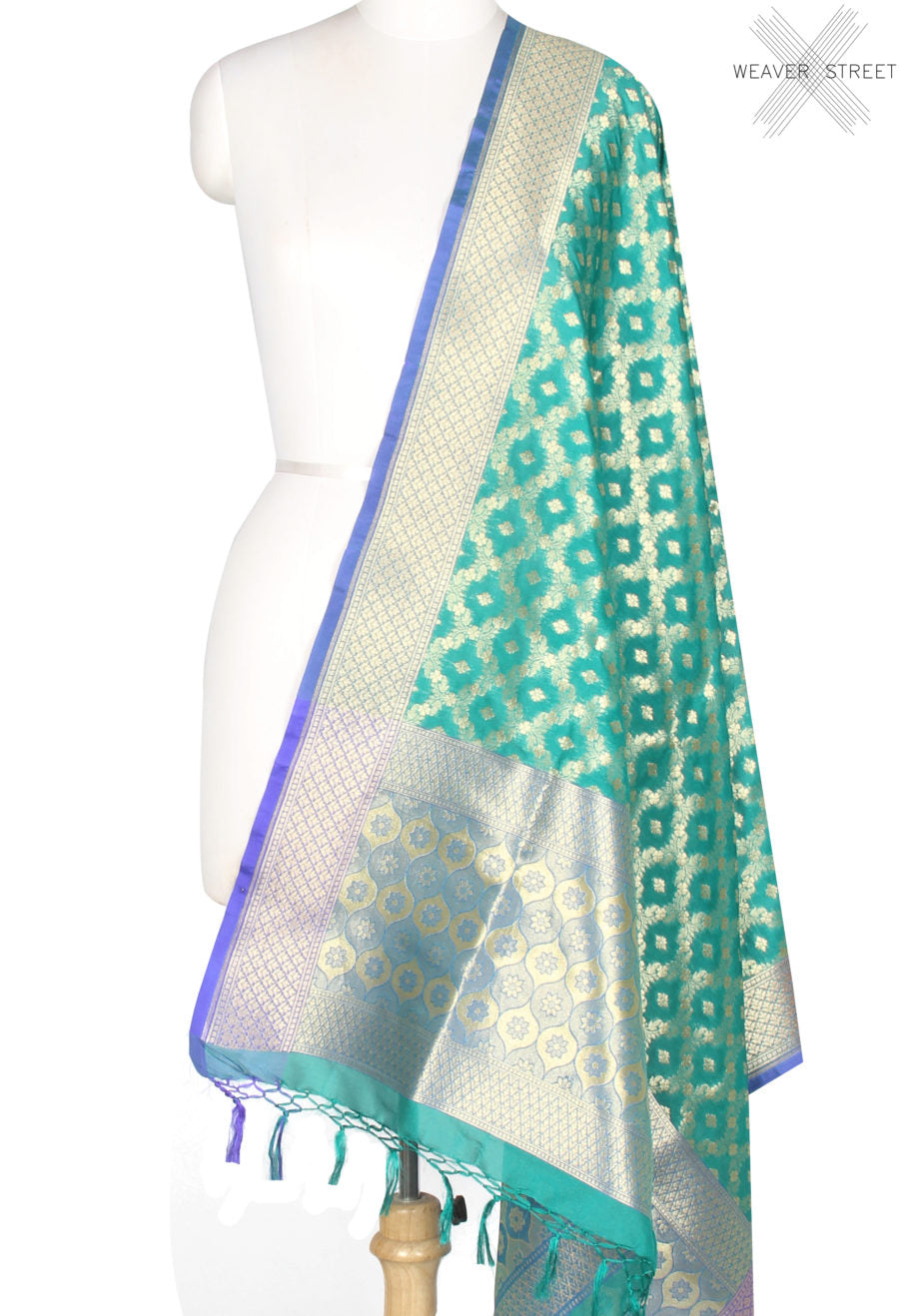Green Banarasi Dupatta with flower and leaf jaal (1) Main