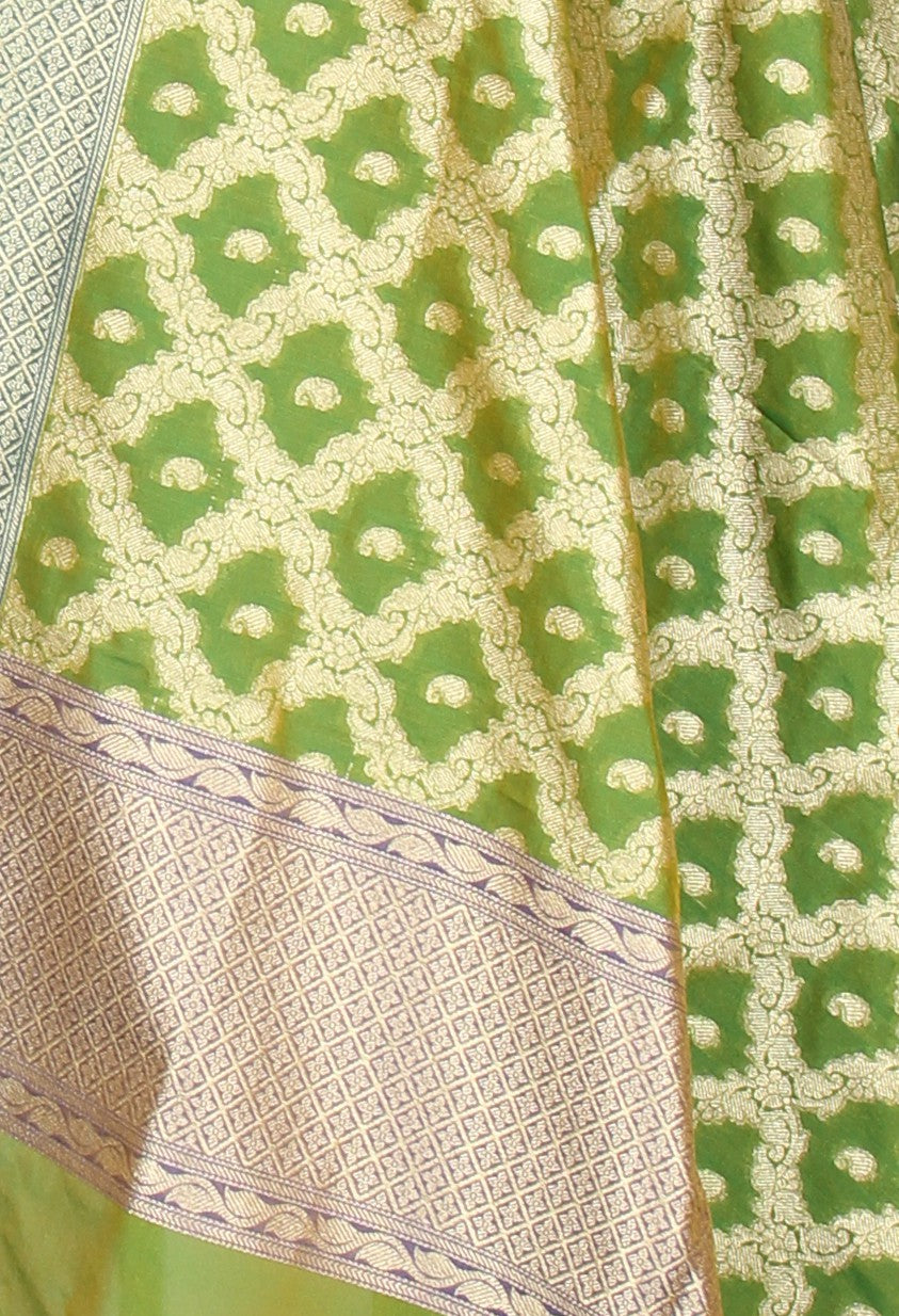 Green Banarasi Dupatta with mini paisely booti inside jaal (2) Close up