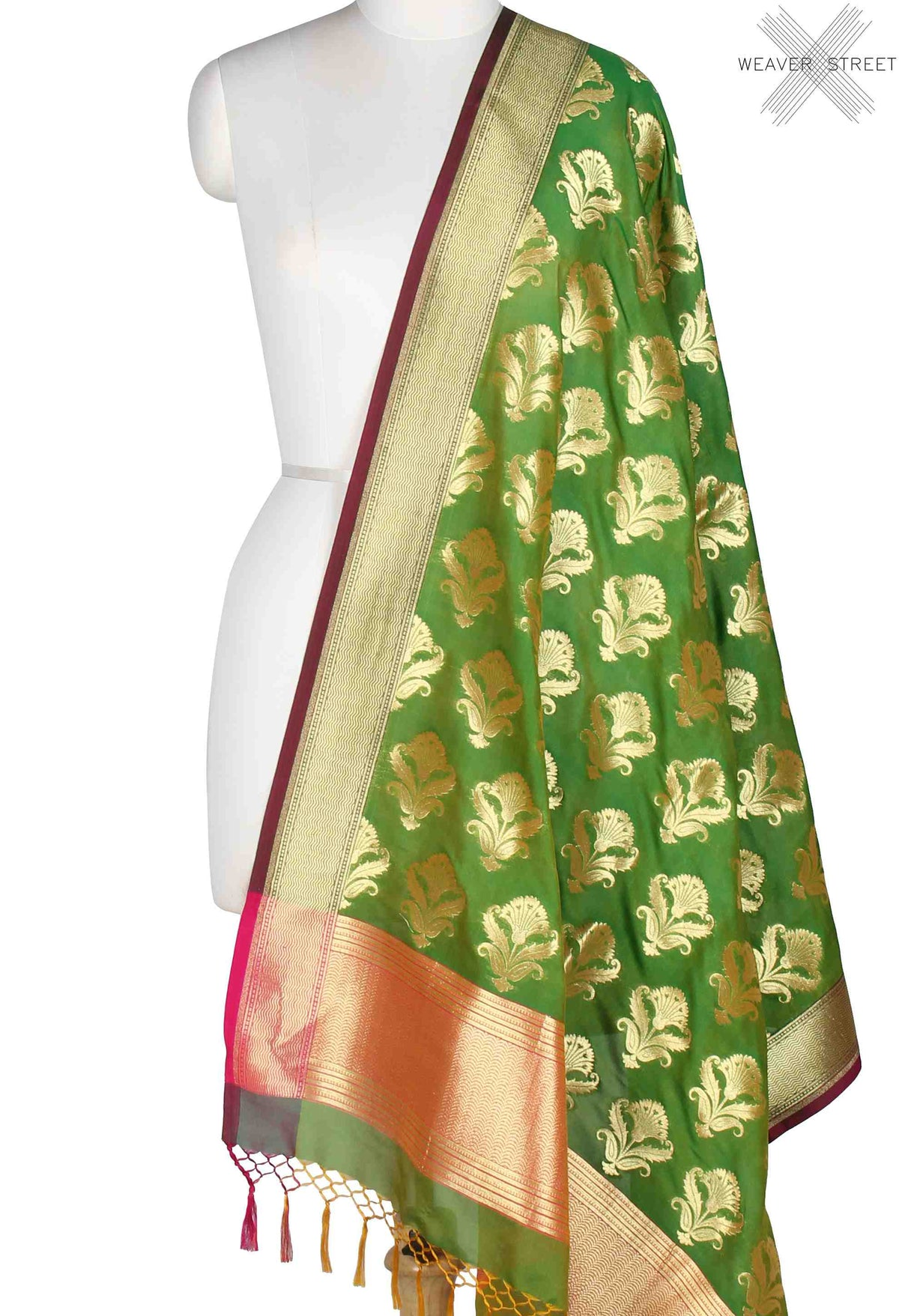 Green Banarasi Dupatta with stylized flower boota (1) Main