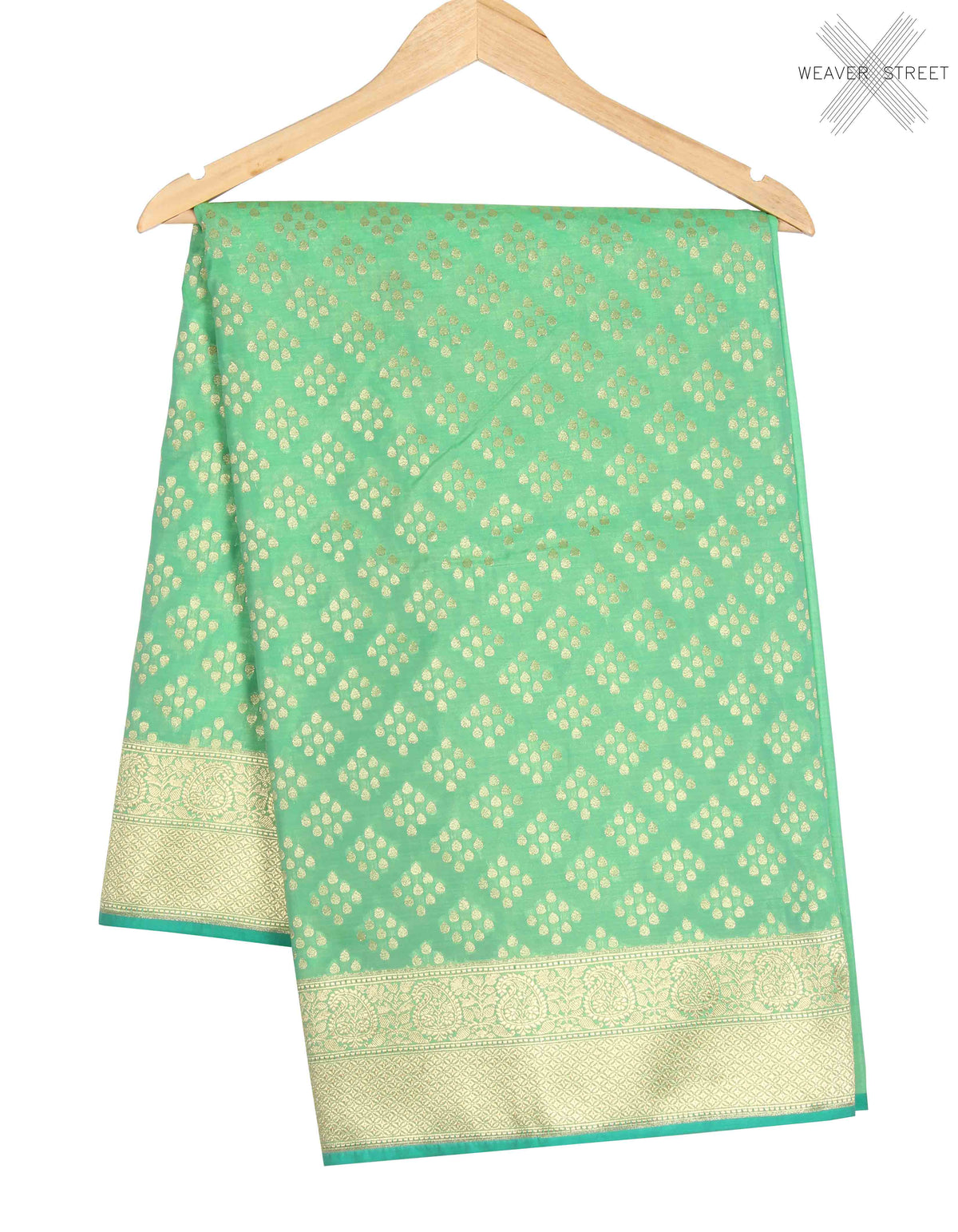 Green Banarasi Saree with drop motifs (1) main