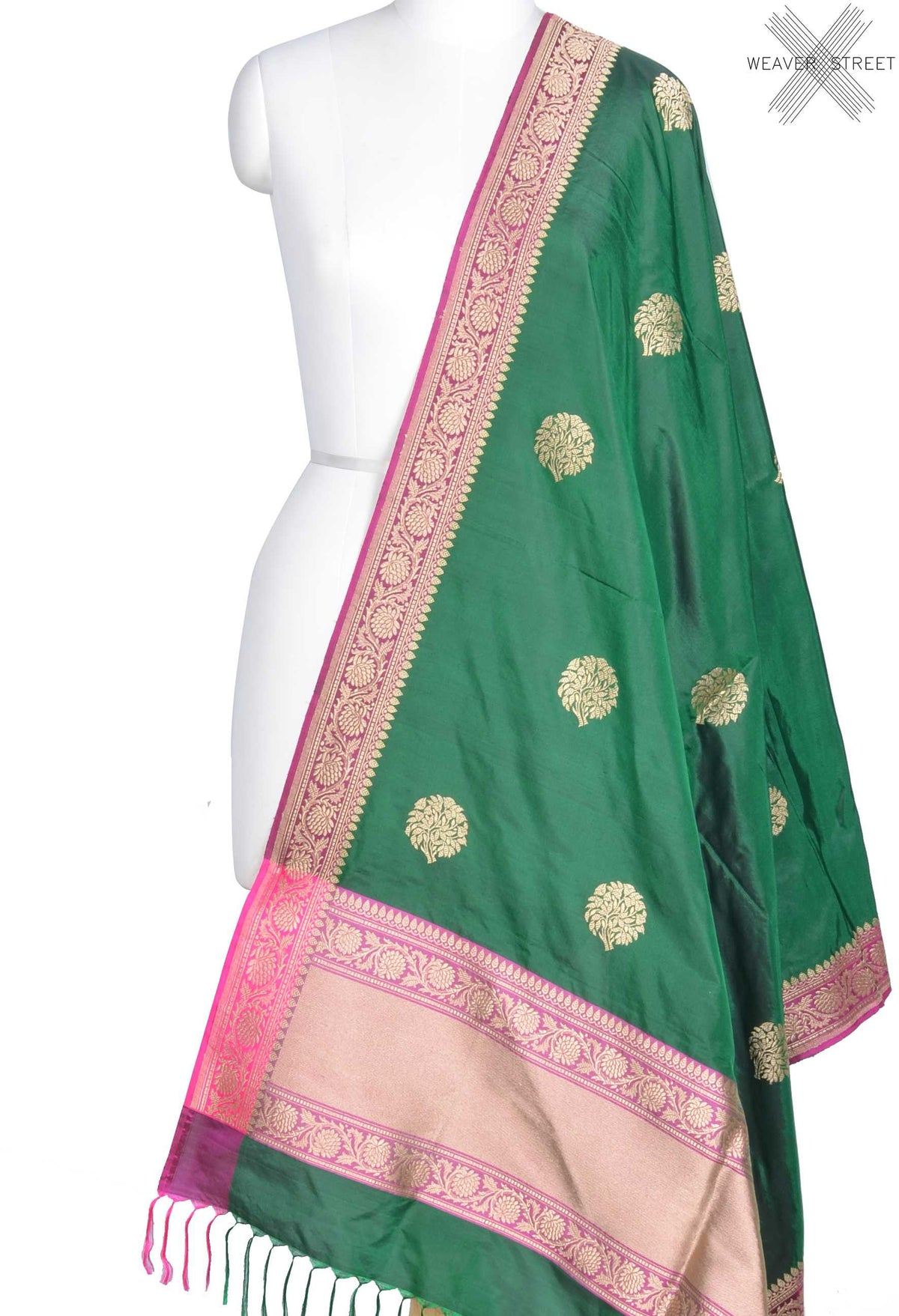 Green Katan Silk Banarasi Dupatta with tree motifs (1) Main
