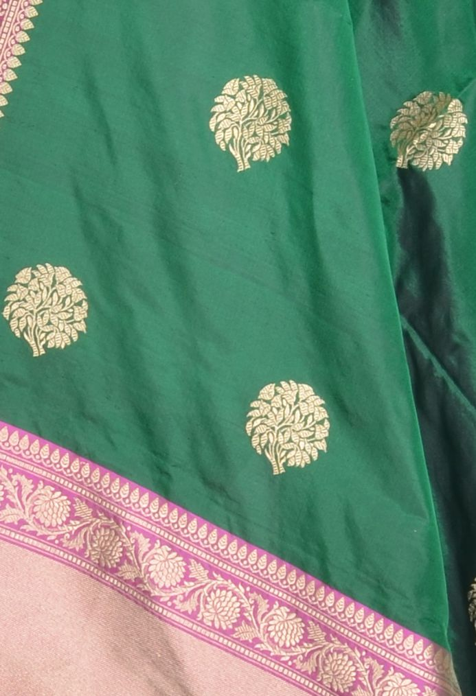 Green Katan Silk Banarasi Dupatta with tree motifs (2) Close up