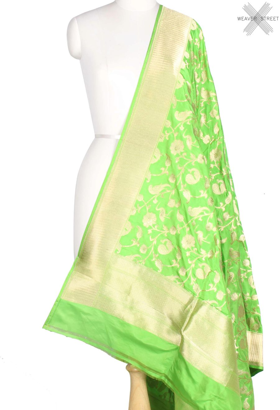 Green Katan Silk Handwoven Banarasi Dupatta with birds jaal (1) main