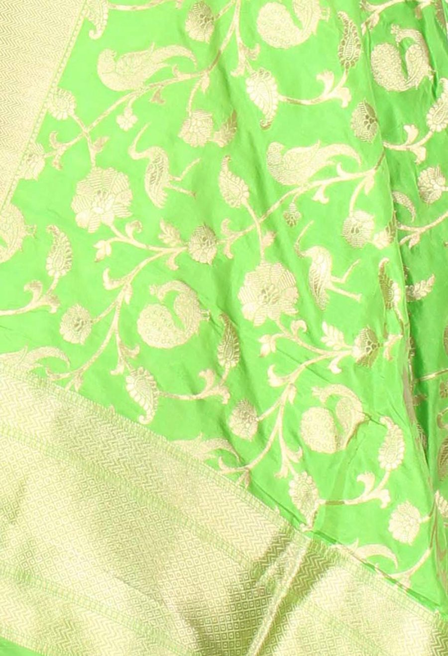 Green Katan Silk Handwoven Banarasi Dupatta with birds jaal (2) closeup