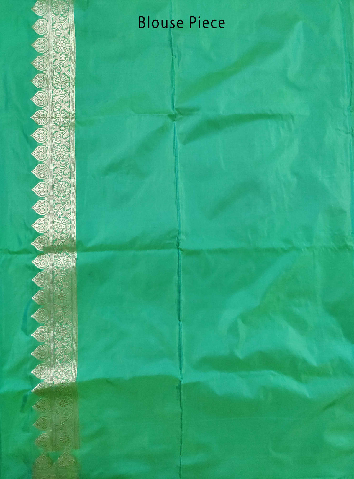 Green Katan silk Handloom Banarasi saree with flower jaal (3) Blouse Piece