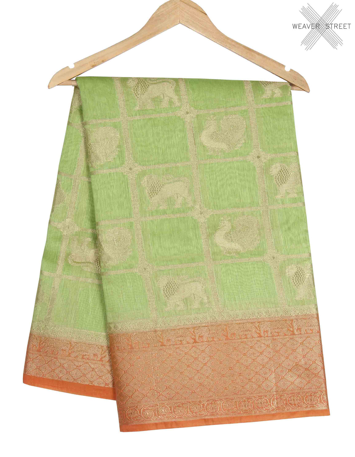 Green Linen Banarasi saree with lion boota (1) main