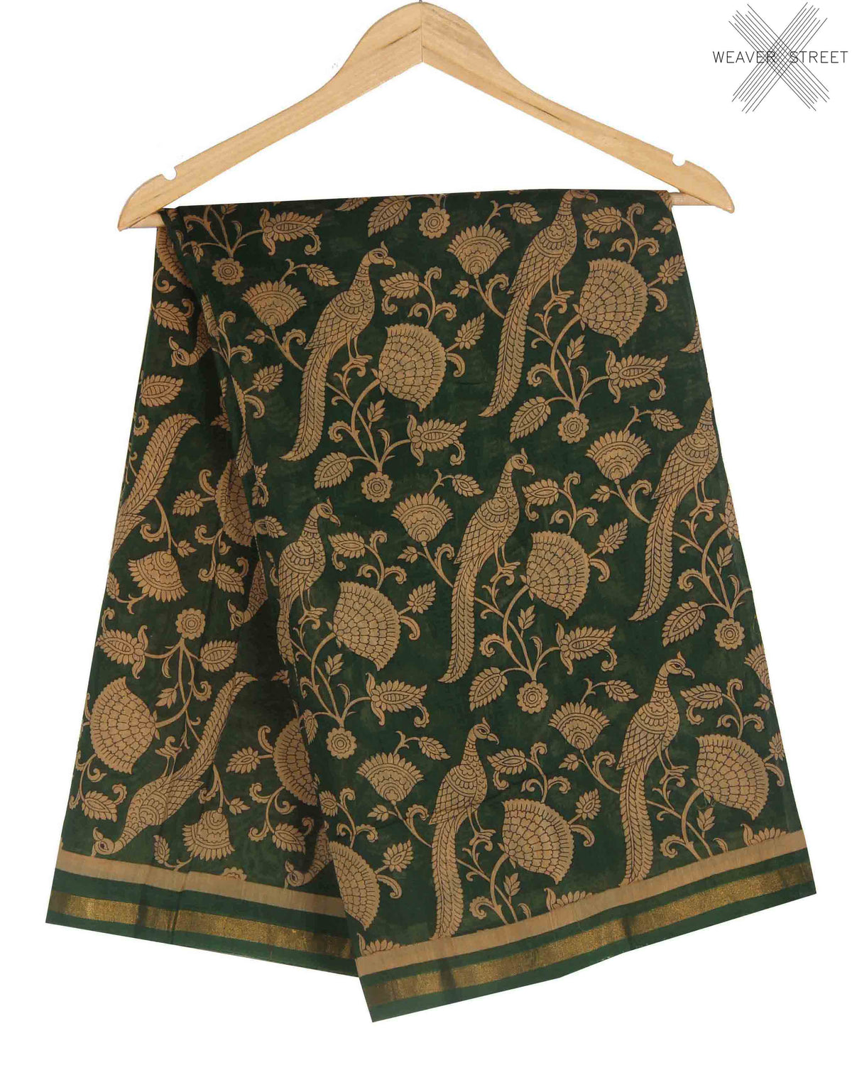 Green Silk Cotton Saree with Peacock prints (1) main