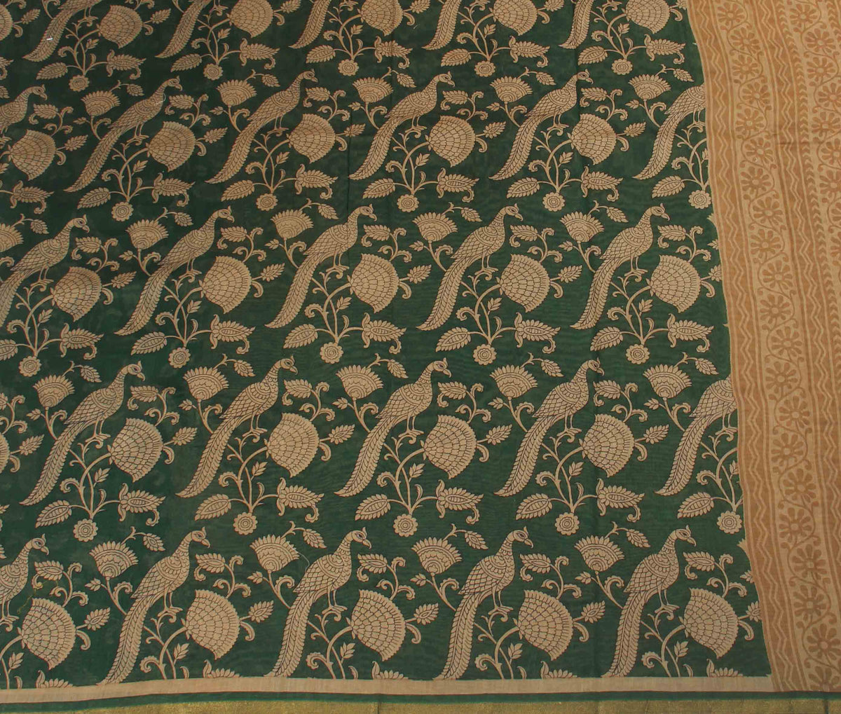 Green Silk Cotton Saree with Peacock prints (2) flat